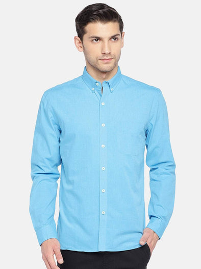 Men's Cotton Woven Aqua Regular Fit Shirts Cottonworld Men's Shirts