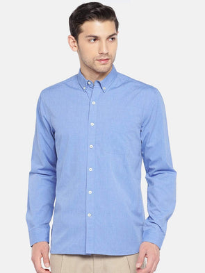 Men's Cotton Woven Blue Regular Fit Shirt Cottonworld Men's Shirts