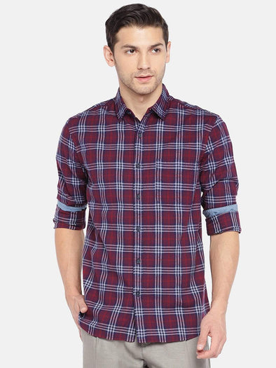 Men's Cotton Woven Maroon Regular Fit Shirt Cottonworld Men's Shirts