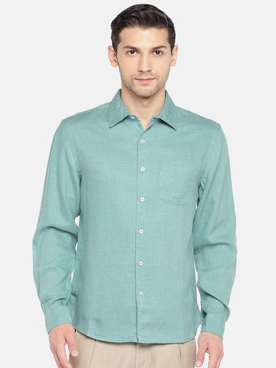 Men's Cotton Woven Mint Regular Fit Shirts Cottonworld Men's Shirts