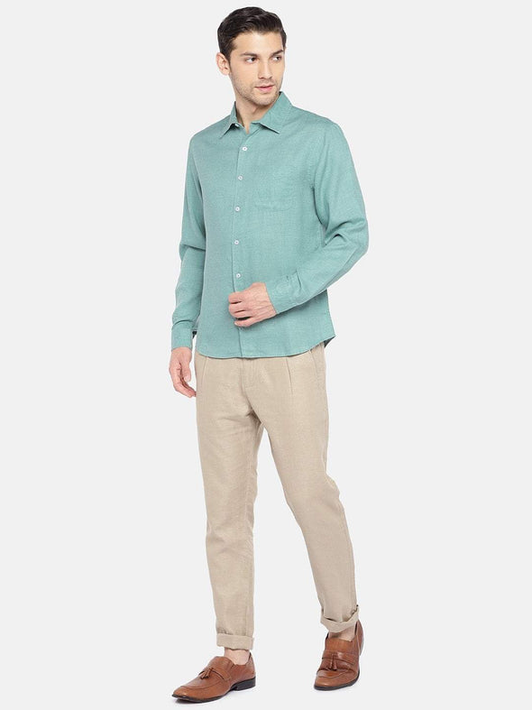 Men's Mint Melange Regular Fit Shirt Cottonworld Men's Shirts