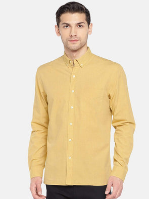 Men's Cotton Woven Mustard Regular Fit Shirts Cottonworld Men's Shirts