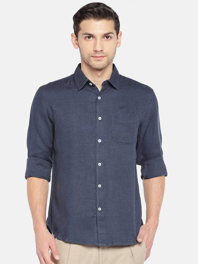 Men's Cotton Woven Navy Regular Fit Shirts Cottonworld Men's Shirts