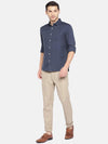 Men's Cotton Navy Regular Fit Melange  Shirt Cottonworld Men's Shirts