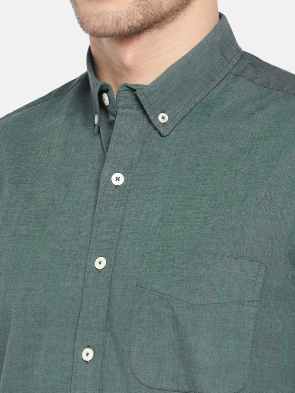 Men's Cotton Woven Olive Regular Fit Shirt Cottonworld Men's Shirts