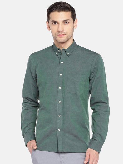 Men's Cotton Woven Olive Regular Fit Shirts Cottonworld Men's Shirts