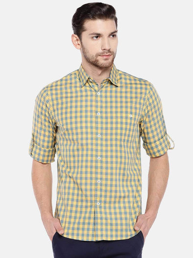 Men's Cotton Yellow Regular Fit Shirt Cottonworld Men's Shirts