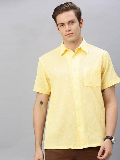 Men's Cotton Yellow Regular Fit  Embroidered Shirt Cottonworld Men's Shirts