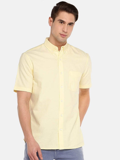 Men's  Yellow Regular Fit Cotton Oxford Shirt Cottonworld Men's Shirts