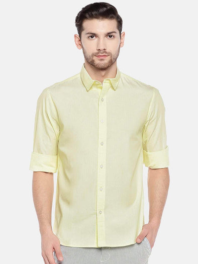 Cottonworld Men's Shirts Men's Cotton Yellow Slim Fit Shirt