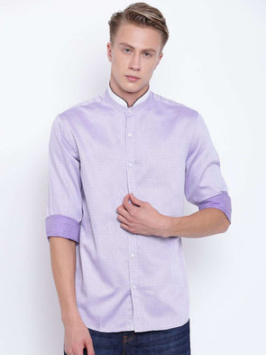 Cottonworld Men's Shirts MEN'S LILAC BAND COLLAR REGULAR FIT SHIRT WITH PIPING DETAIL