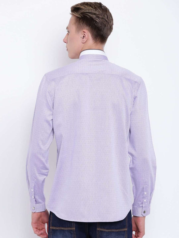 Men's Lilac Band Collar Regular Fit Shirt With Piping Detail Cottonworld Men's Shirts