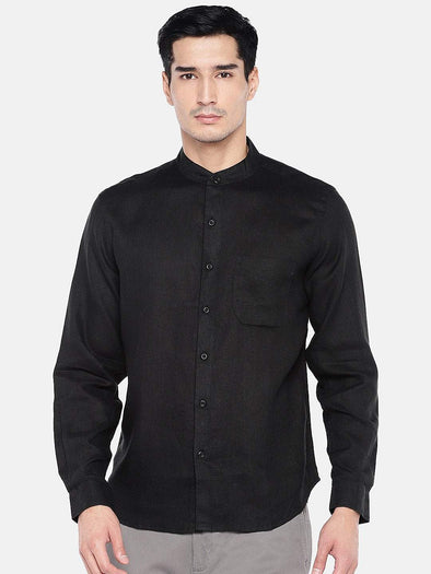 Men's Linen Black Regular Fit Shirts Cottonworld Men's Shirts