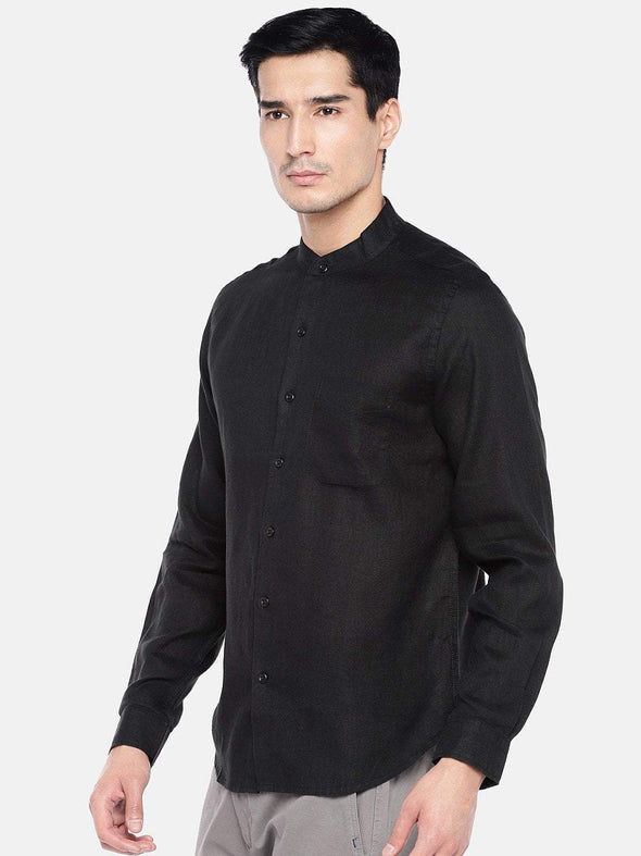 Men's 100% Linen Black Band Collar Shirt Regular Fit Long Sleeved
