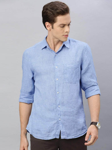 Cottonworld Men's Shirts Men's Linen Blue Regular Fit Shirt