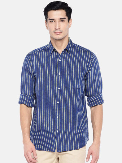 Men's Linen Blue Regular Fit Shirts Cottonworld Men's Shirts