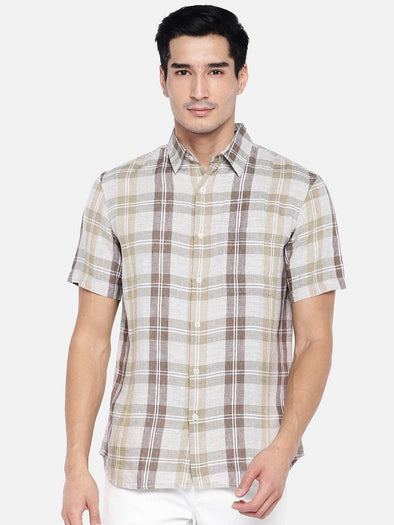Men's Linen Brown Regular Fit Shirt Cottonworld Men's Shirts