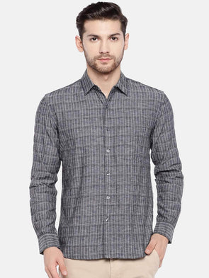 Men's Linen Cotton Black Regular Fit Shirt Cottonworld Men's Shirts