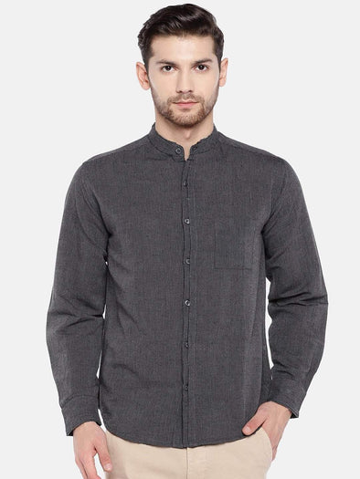 Men's Linen Cotton Black Regular Fit Kurta Shirt Cottonworld Men's Shirts