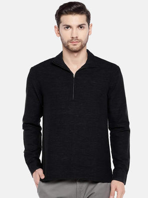 Men's Linen Cotton Black Regular Fit Zipper Kurta Shirt Cottonworld Men's Shirts