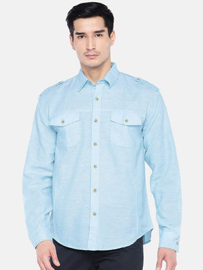 Men's Linen Cotton Blue Regular Fit Shirt Cottonworld Men's Shirts