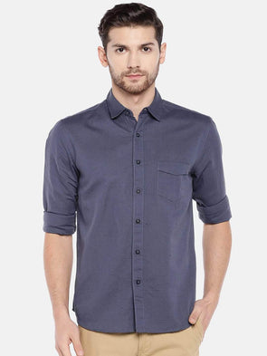 Men's Linen Cotton Cobalt Regular Fit Shirt Cottonworld Men's Shirts