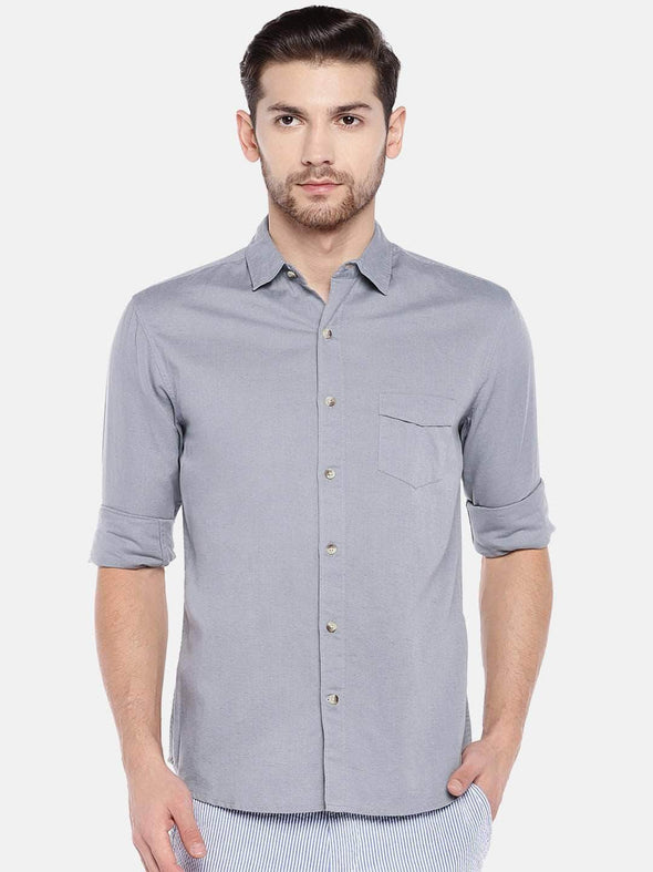 Men's Linen Cotton Grey Regular Fit Shirt Cottonworld Men's Shirts