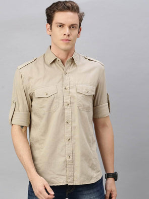 Men's Linen Cotton Khaki Regular Fit Shirt Cottonworld Men's Shirts
