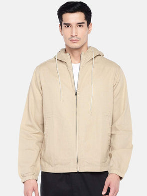 Men's Linen Cotton Khaki Hooded Zipper Regular Fit Shirt Cottonworld Men's Shirts