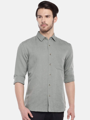 Cottonworld Men's Shirts Men's Linen Cotton Light Gree Regular Fit Shirts