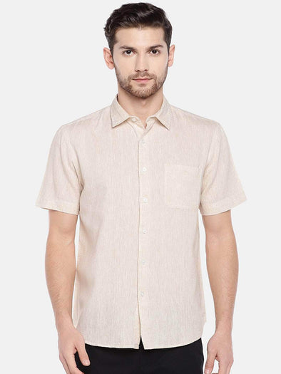 Cottonworld Men's Shirts Men's Linen Cotton Lyocell Natural Regular Fit Shirt
