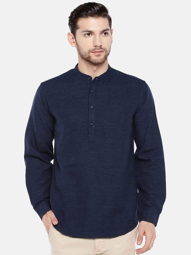 Men's Linen Cotton Lyocell Navy Regular Fit Kurta Shirt Cottonworld Men's Shirts