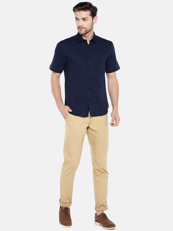 Men's Linen Cotton Lyocell Navy Regular Fit Shirt Cottonworld Men's Shirts