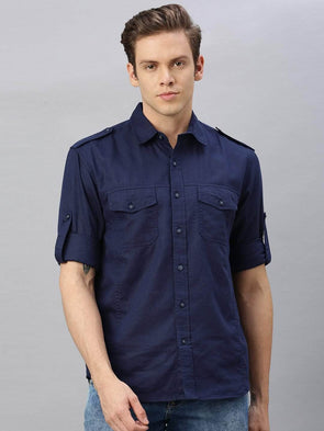 Cottonworld Men's Shirts Men's Linen Cotton Navy Regular Fit Shirt