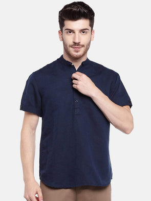 Cottonworld Men's Shirts Men's Linen Cotton Navy Regular Fit Shirts