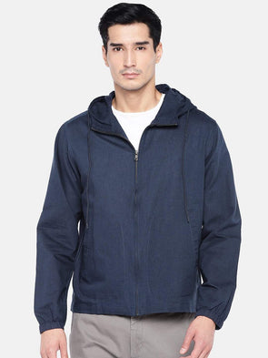 Men's Linen Cotton  Navy Hooded Zipper Regular Fit Shirt Cottonworld Men's Shirts