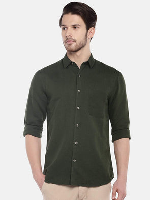 Cottonworld Men's Shirts Men's Linen Cotton Olive Regular Fit Shirts