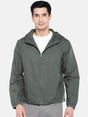 Men's Linen Cotton Olive Zipper Hooded Regular Fit Shirt Cottonworld Men's Shirts
