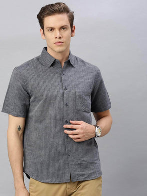 Men's Slate Linen Cotton  Regular Fit Striped Shirt Cottonworld Men's Shirts