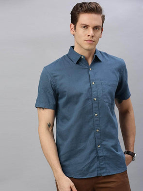 Cottonworld Men's Shirts Men's Linen Cotton Teal Regular Fit Shirt