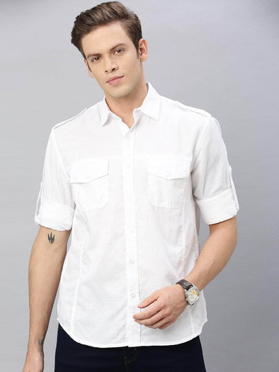 Cottonworld Men's Shirts Men's Linen Cotton White Regular Fit Shirt