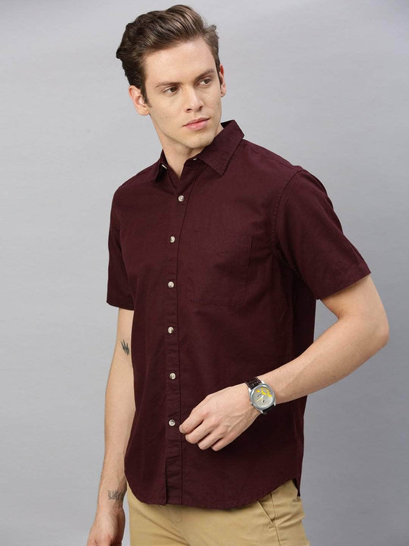 Men's Linen Cotton Wine Regular Fit Shirt Cottonworld Men's Shirts
