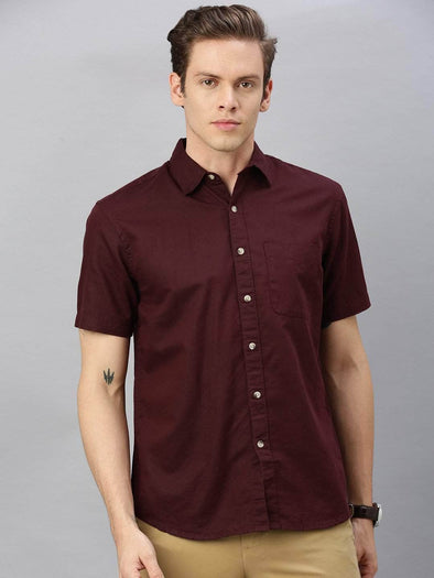 Cottonworld Men's Shirts Men's Linen Cotton Wine Regular Fit Shirt