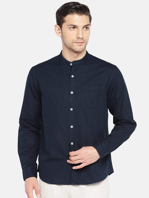 Men's Linen Cotton Woven Navy Regular Fit Shirts Cottonworld Men's Shirts