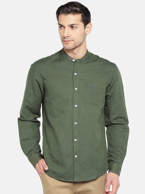 Men's Linen Cotton Woven Olive Regular Fit Shirts Cottonworld Men's Shirts