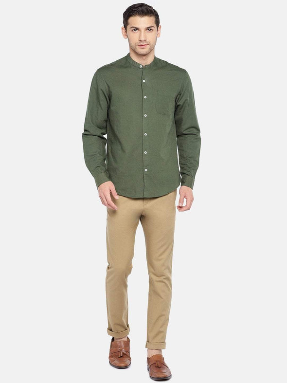 Men's Linen Cotton Woven Olive Regular Fit Shirt Cottonworld Men's Shirts