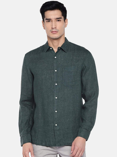 Cottonworld Men's Shirts Men's Linen Green Regular Fit Shirts