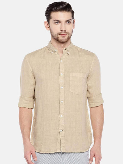 Men's Linen Khaki Regular Fit Shirt Cottonworld Men's Shirts