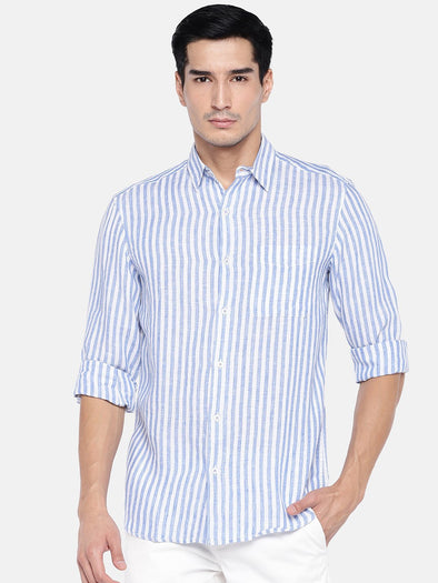Men's Linen Navy Regular Fit Shirts Cottonworld Men's Shirts