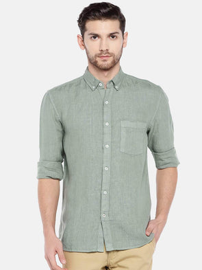 Men's Linen Olive Regular Fit Shirt Cottonworld Men's Shirts